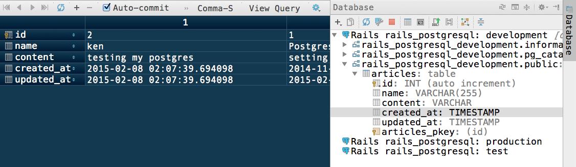 Rubymine Database tool